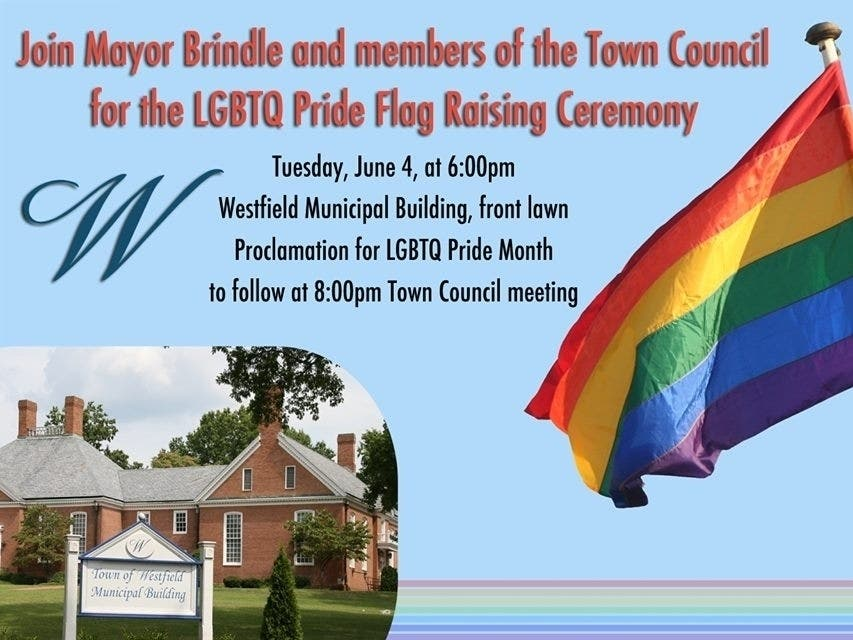 fba063397 In recognition of LGBTQ Pride Month, Westfield will raise a flag at town  hall.
