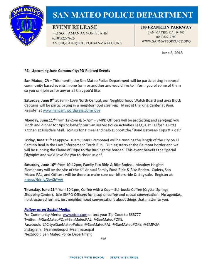 June 9th thru 21st San Mateo PD & Community Related Events