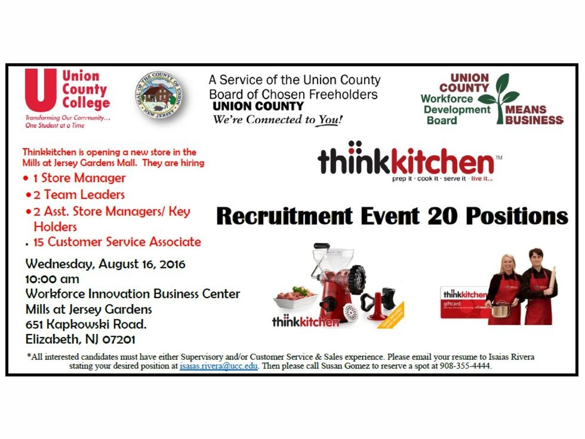 Union County Freeholders Announce 20 New Retail Positions Available