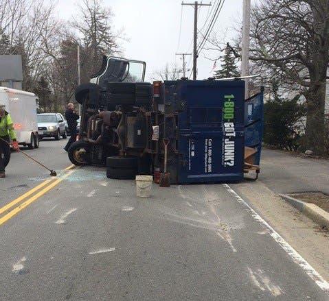 1-800-GOT-JUNK? Truck Flips In East Bridgewater Crash