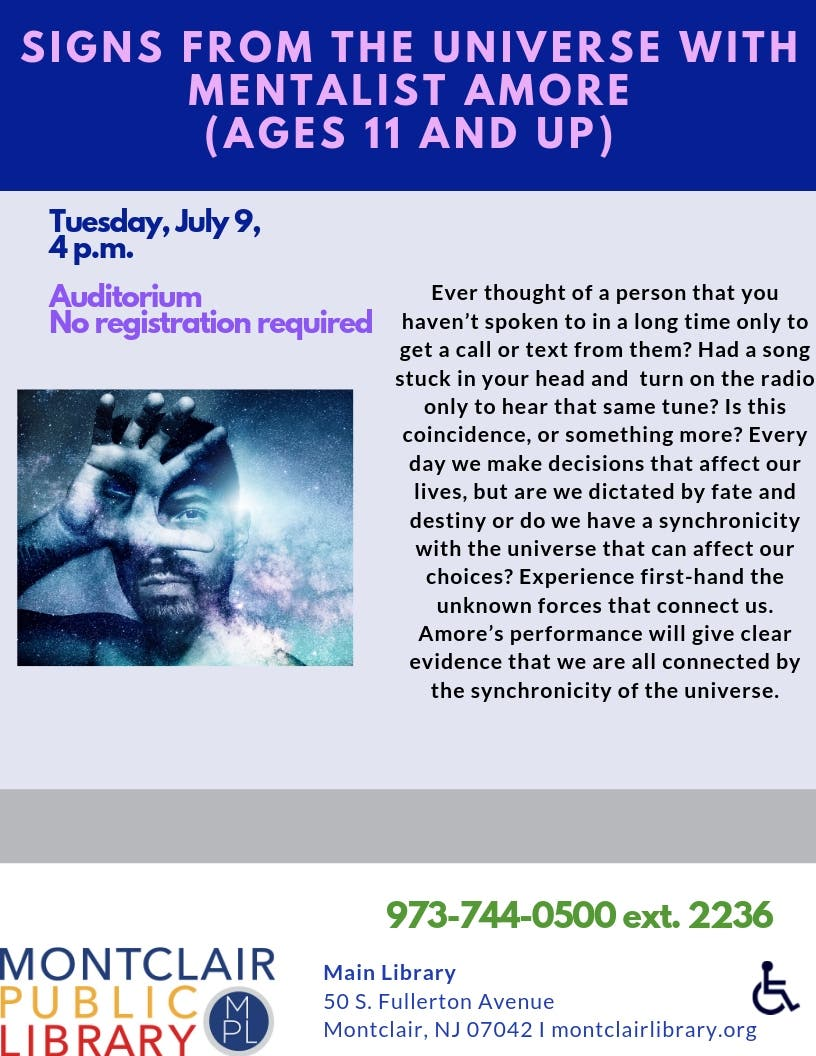 Jul 9 | Signs from the Universe with Mentalist Amore (Ages