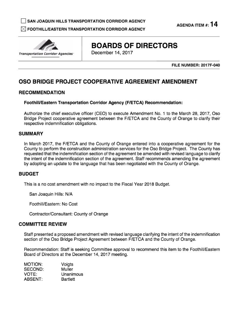 Tca And County To Alter Oso Bridge Project Cooperative Agreement