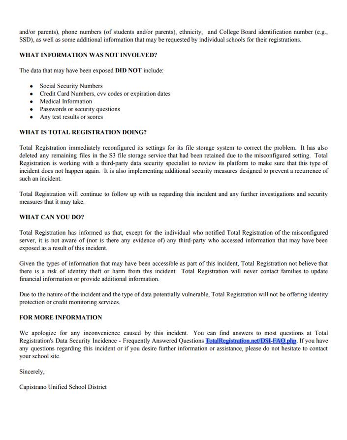 Med School Update Letter.Data Breach Capistrano Unified San Juan Capistrano Ca Patch