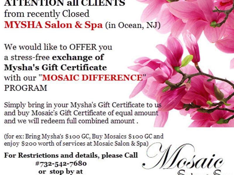 Myshas Spa Salon Gift Certificates Stress Free Exchange At Mosaic