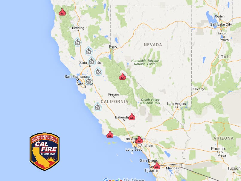 California Wildfire Latest: 9 Large Fires, 2 s, Hundreds of ... on california map, vail lake resort map, 1000 palms map, canyon crest map, inland empire map, mt. baldy map, mission gorge map, fallbrook map, murrieta map, redlands map, anza-borrego desert state park map, area code 951 map, palm desert map, bankers hill map, mt laguna map, desert cities map, riverside map, new york city map, snelling map, san diego map,