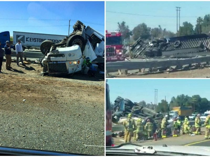 215 Freeway Closed Several Hours Following Big Rig Crash