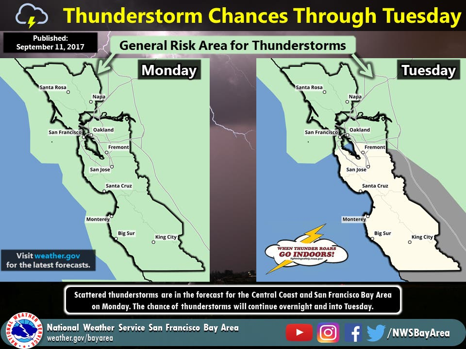 Thunderstorms, Work Week Cool Down In South San Francisco: 7-Day