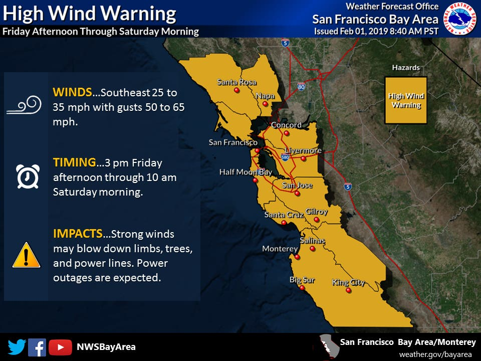 Power Outages, Downed Trees Likely Near South San Francisco