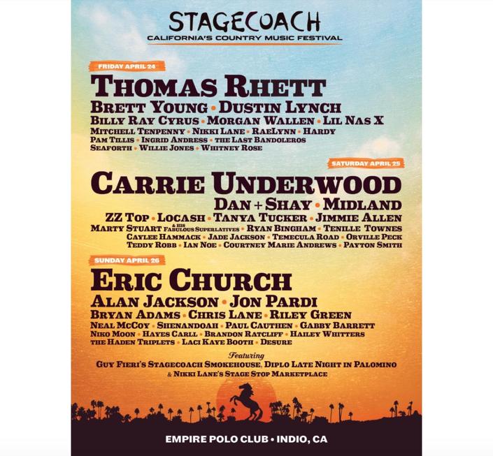 Stagecoach 2020: Rhett, Underwood, Church To Headline