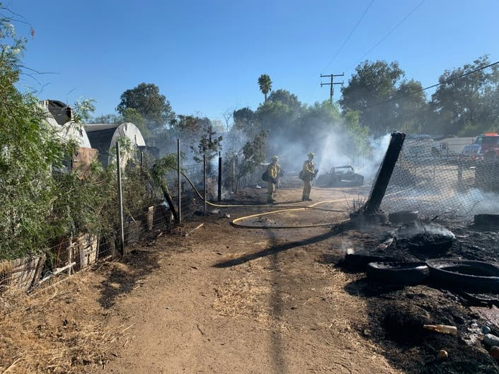 Vehicle Fire Spreads To Nearby Brush In Lake Elsinore