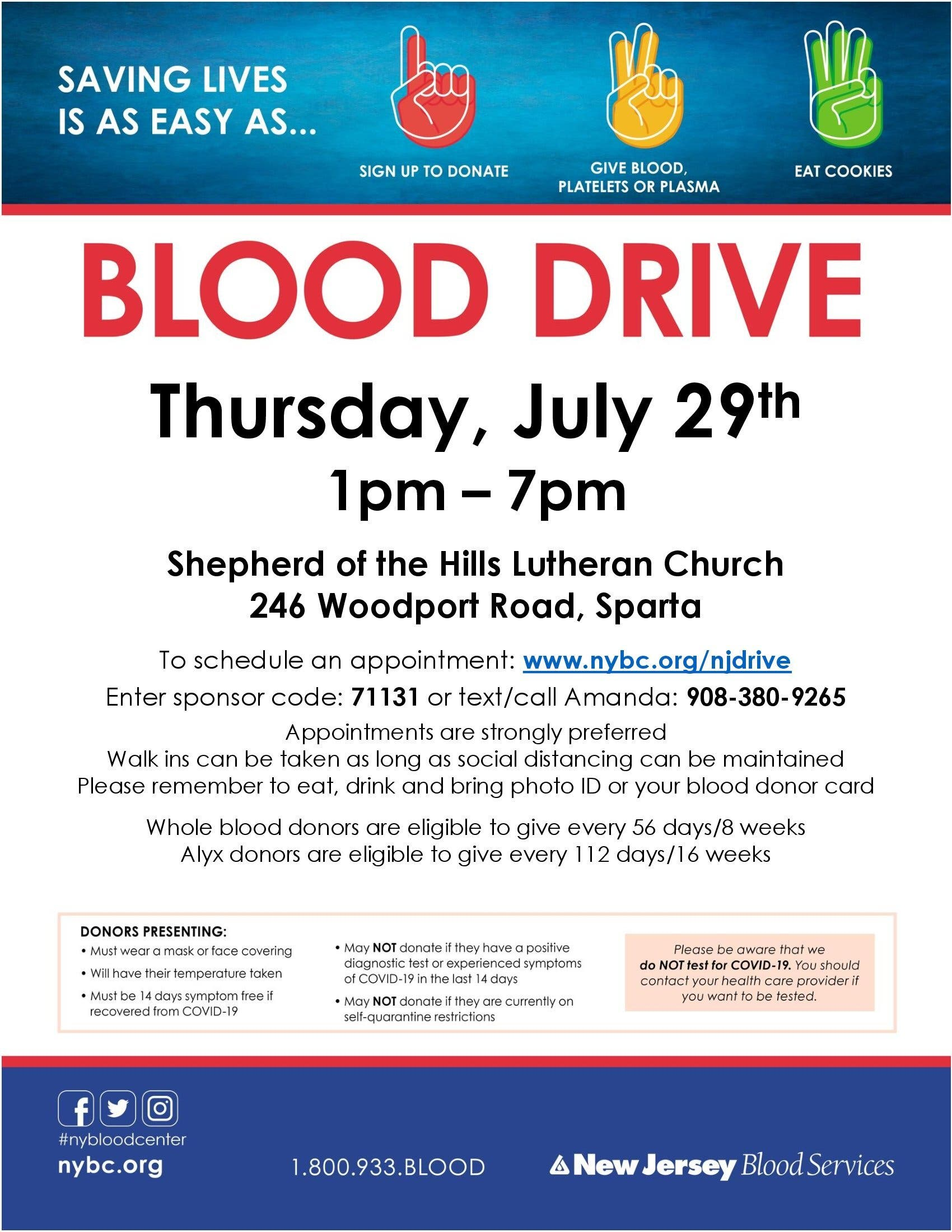 Sparta Blood Drive - $10 e-gift card for donors!