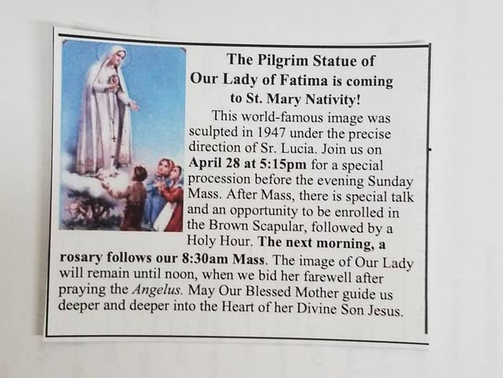 Our Lady of Fatima is coming to St. Mary Nativity!