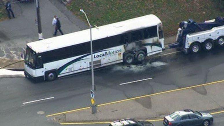 WATCH: Bus Fire, Crash Slows Down I-93 South   Braintree, MA