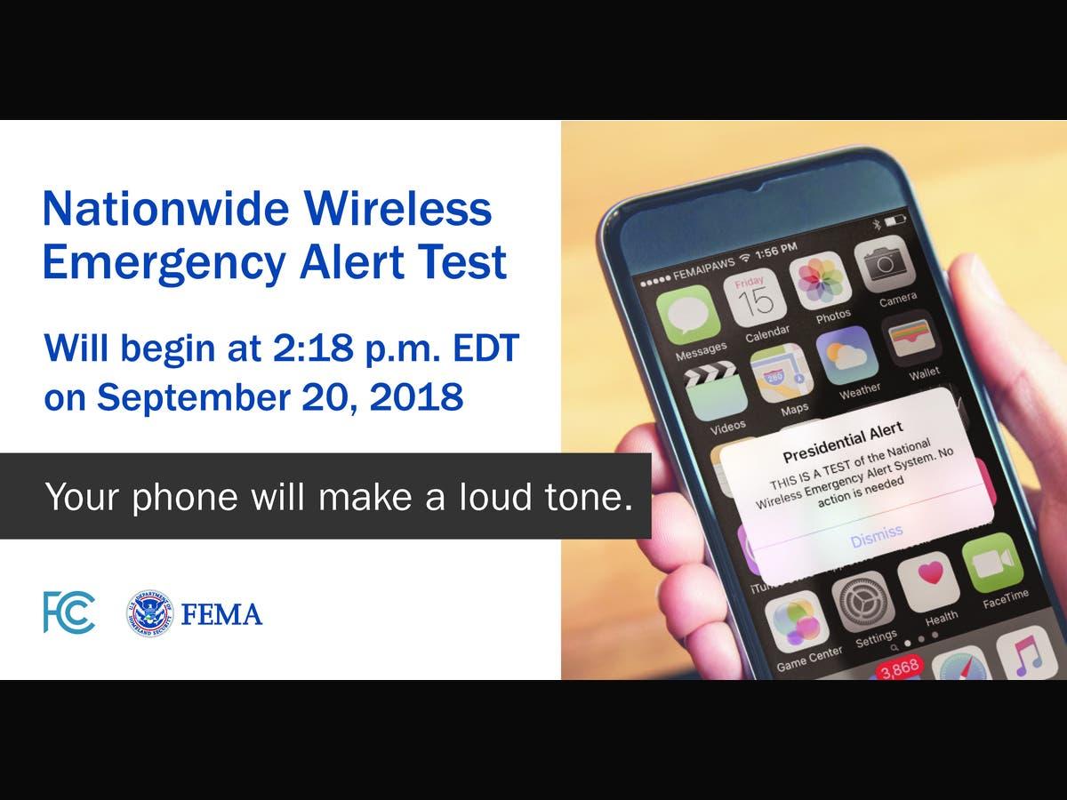 Nationwide Wireless Emergency Alert Test Set for Sept  20