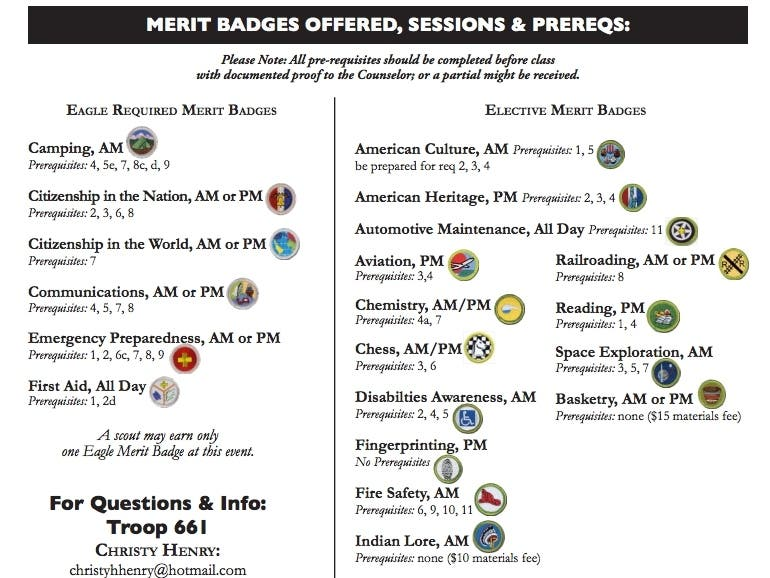 Troop 661 Merit Badge Day - May 18th - Mission Viejo, CA Patch