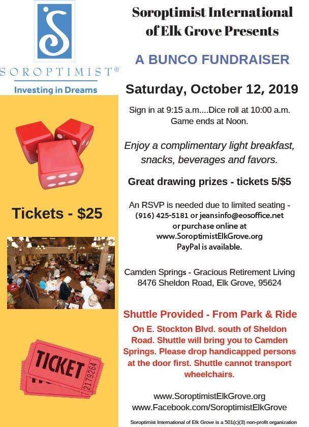 Oct 12 | Soroptimist Elk Grove Bunco Fundraiser | Elk Grove
