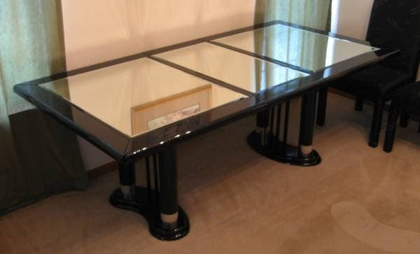 used dining room table for sale | USED Black Lacquer & Mirrored Top Dining Room Table with 4 ...