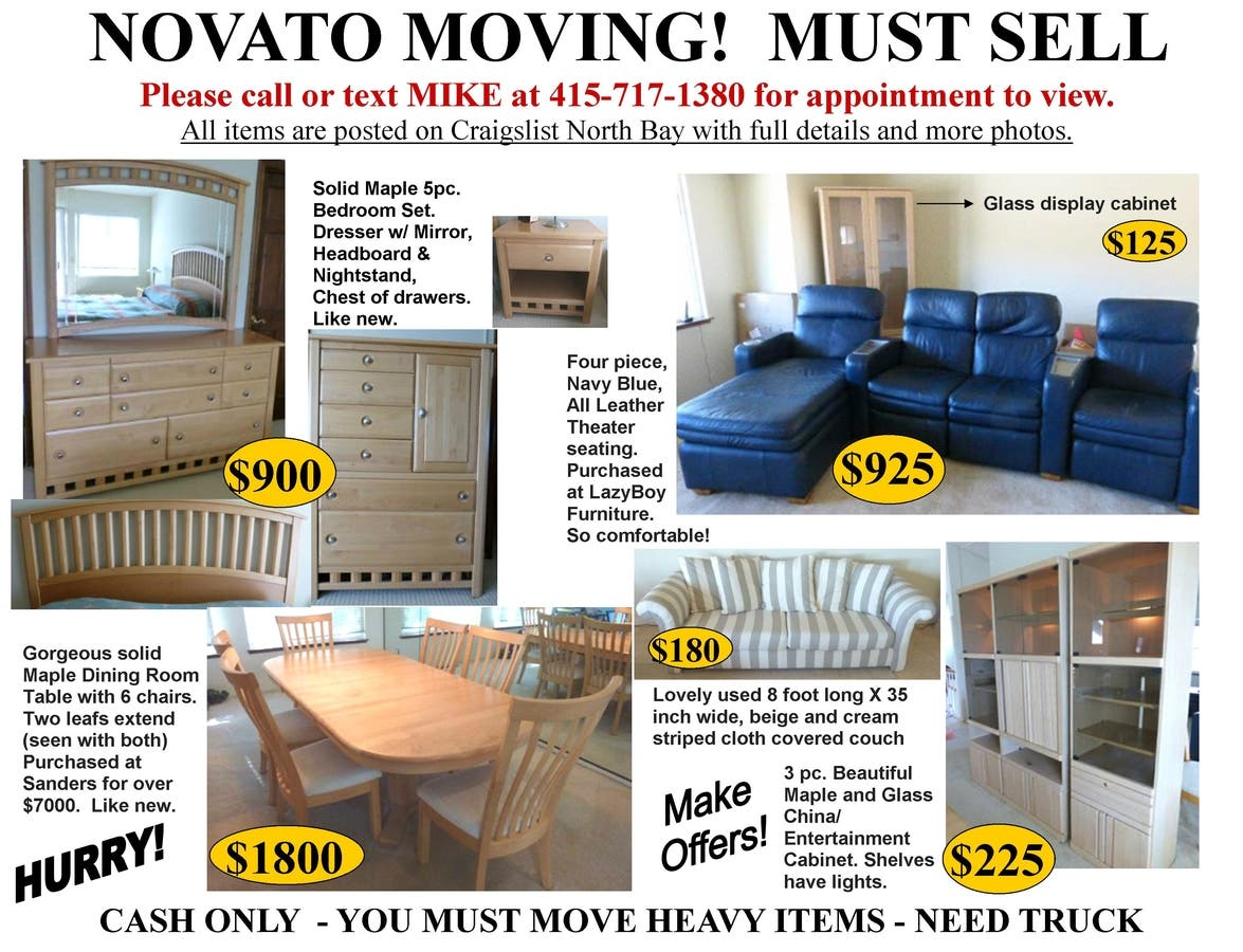 Moving Must Sell All Furniture Asap Novato Ca Patch