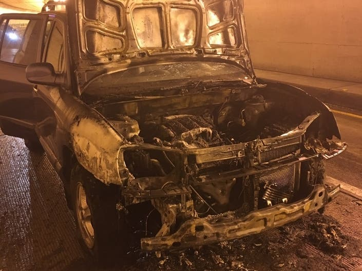 Caldecott Tunnel Fire: Subaru Forester Goes Up In Flames