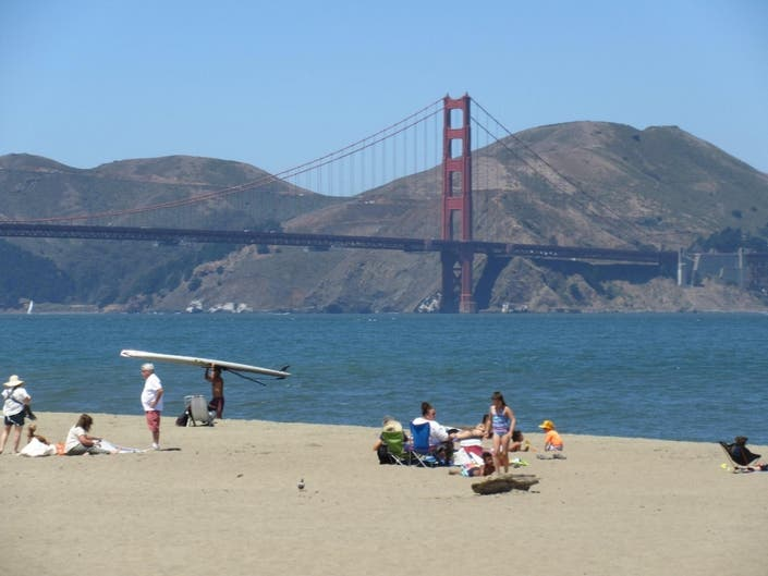Beach Day With The Golden Gate Bridge As Backdrop: Photo
