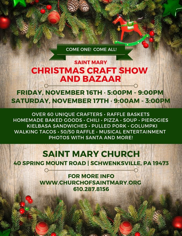 Christmas Craft Show Flyer.Saint Mary Christmas Craft Show And Bazaar Limerick Pa Patch