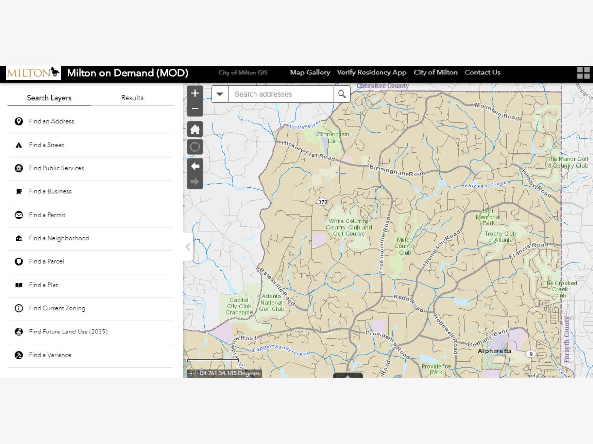 Milton Launches New GIS Interactive Maps   Alpharetta, GA Patch on maricopa county interactive maps, gis base map, usgs topographic maps, html interactive maps, gis world map, excel interactive maps, mohave county plat book maps, iowa dnr river maps, esri interactive maps, gis gps, satellite maps, maricopa county property maps, gis services, digital interactive maps, gis elevation map of us, gis satellite, california demographics by maps, real estate interactive maps,