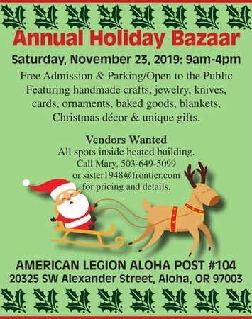 The 2020 Christmas Bazaar!, Portland Expo Center, November 23 Nov 23 | American Legion Aloha Post #104 Annual Holiday Bazaar
