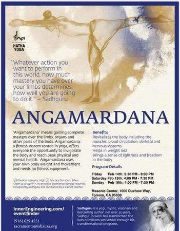 Feb 14 Angamardana Isha Hatha Yoga In Sacramento Citrus Heights Ca Patch