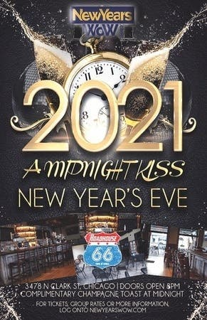 "Dec 31 | ""A Midnight Kiss"" New Year's Eve 2021 at Roadhouse 66 Wrigleyvill 