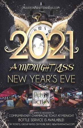 "Dec 31 | ""A Midnight Kiss"" New Year's Eve 2021 at Pub Fiction Houston 