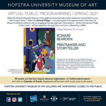 Hofstra Fall 2021 Calendar Feb 12   Hofstra Museum of Art SECOND FRIDAYS: Romare Bearden