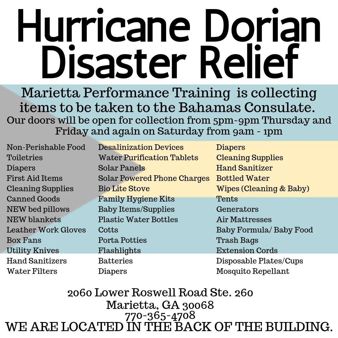 Dec 31   Bahamas Disaster Relief Donation Drive   East Cobb