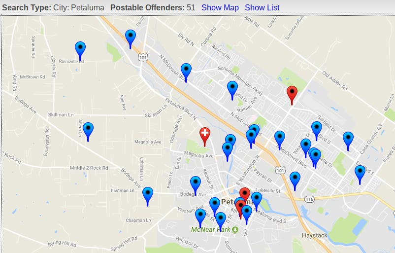 Sonoma county offender maps on