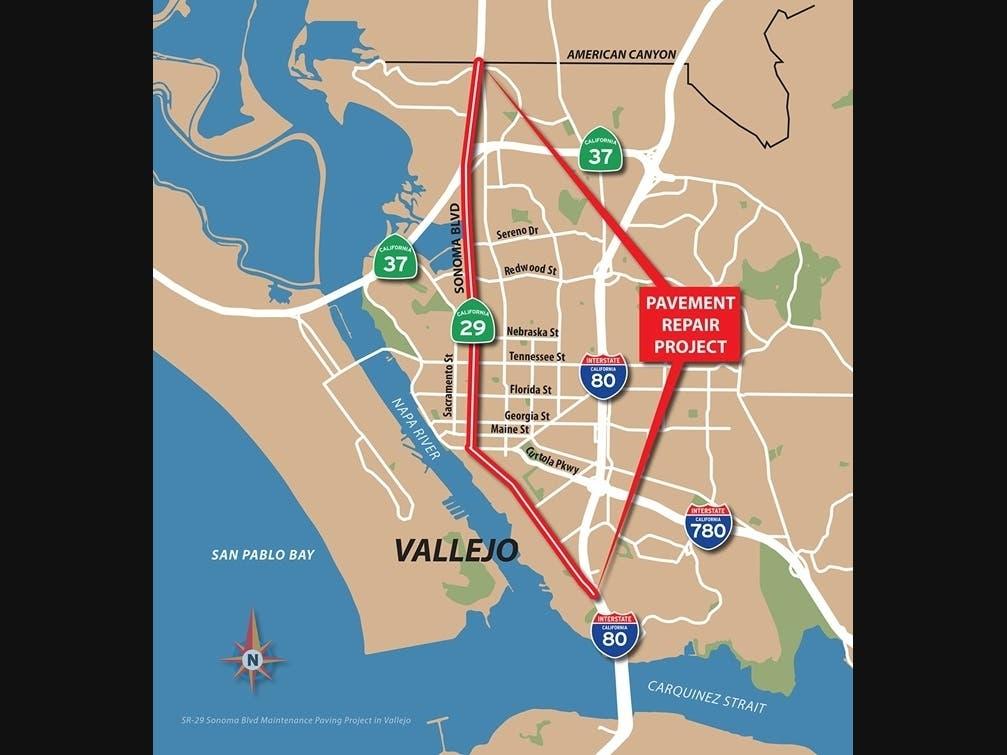 Ramp, Lane Closures Ahead On SR-29/Sonoma Boulevard In Vallejo