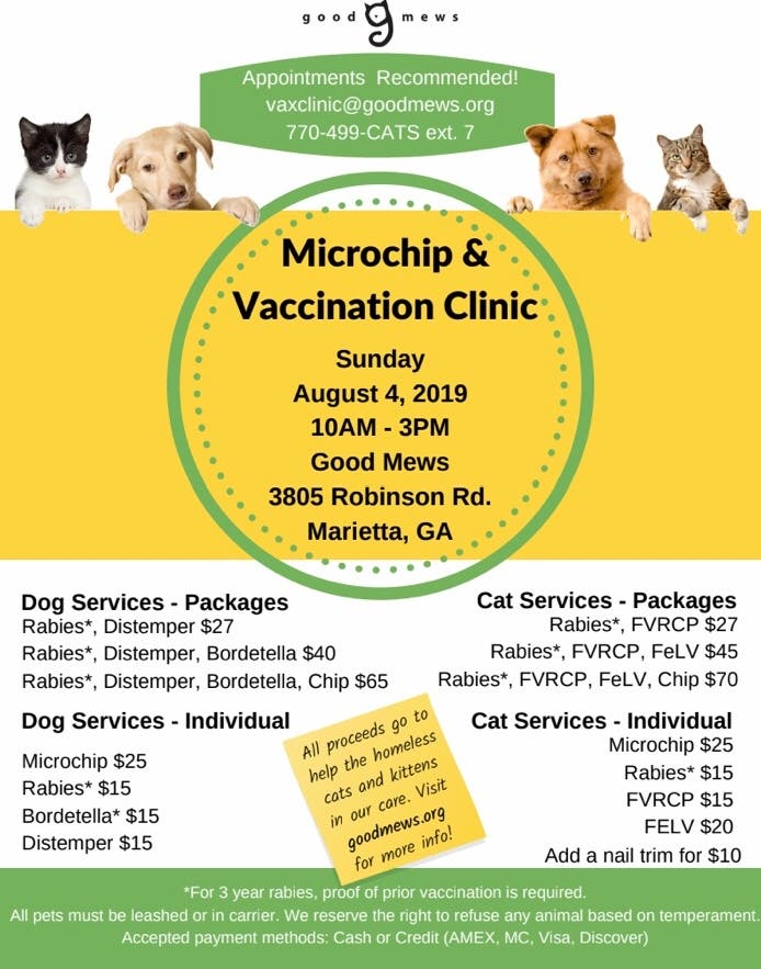 Aug 4 | LOW COST Microchip/Vaccination Clinic for Cats and