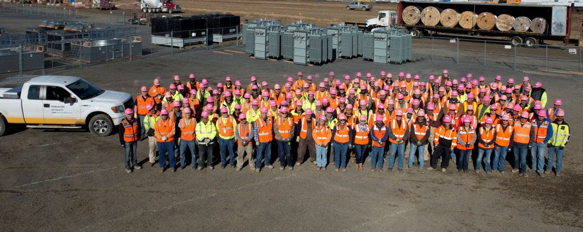 350 Dynalectric Oregon Construction Workers Wear Pink Hard