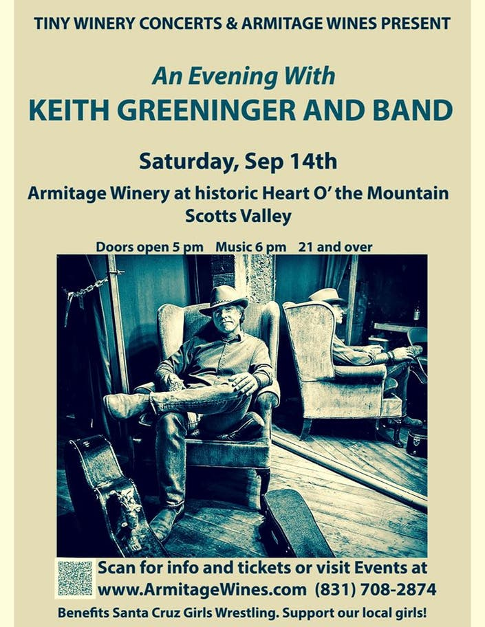 Sep 14 | Keith Greeninger & Band: Armitage Winery, Scotts