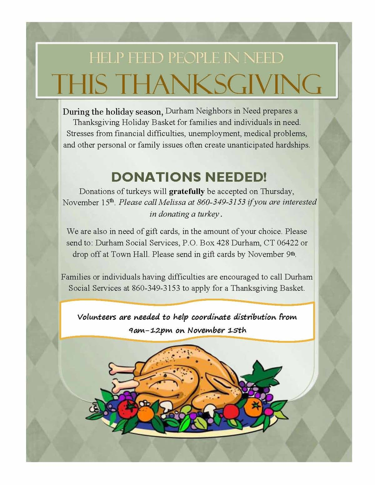 Donations Needed For Thanksgiving Holiday Baskets Durham Ct Patch