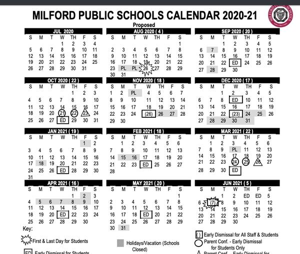 Milford Ct School Calendar 2021