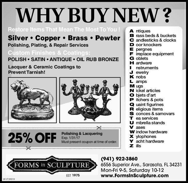 Sarasota Metal Polishing, Plating and Repairs - Forms In