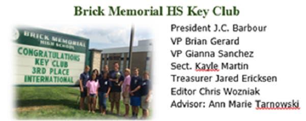 Brick Memorial Key Club Earns 2 International Awards | Brick, NJ Patch
