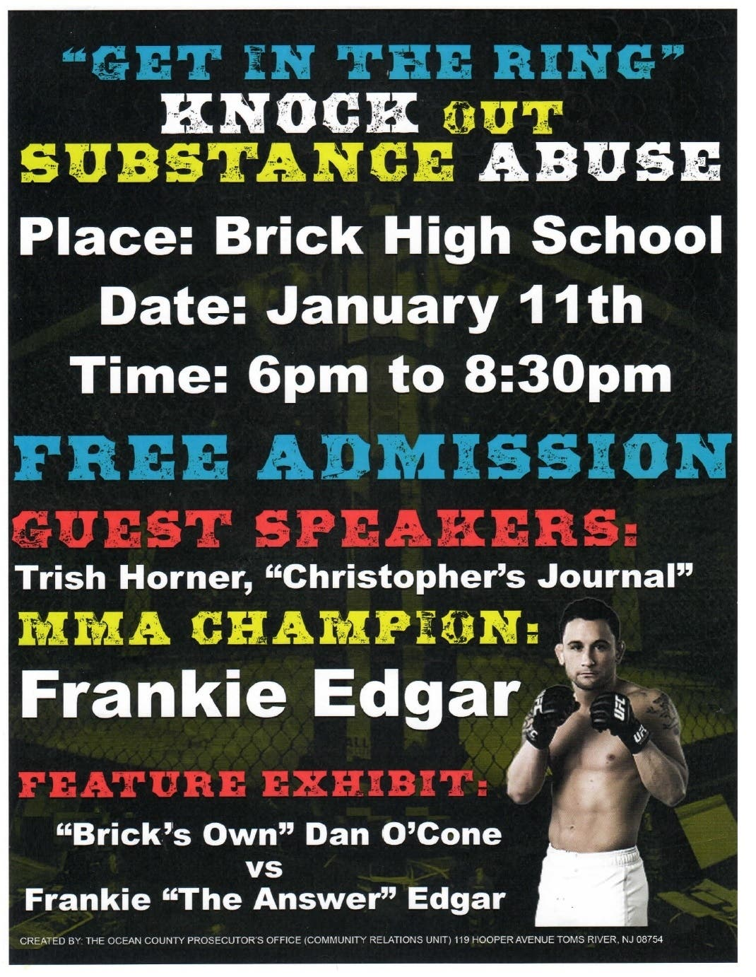 frankie edgar headlines knock out substance abuse talk in brick