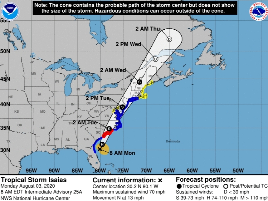 Flash Floods, 70-MPH Winds For NJ From Tropical Storm Isaias