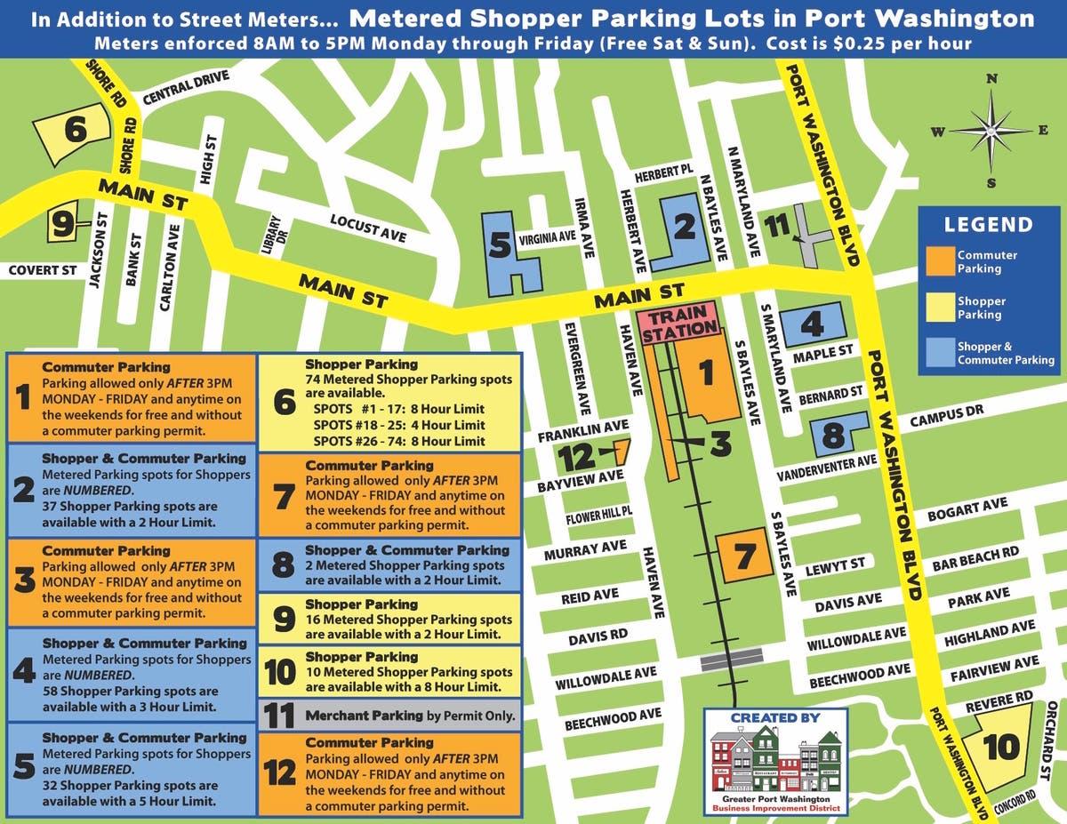 Port Washington Parking Map Created By BID | Port Washington, NY Patch