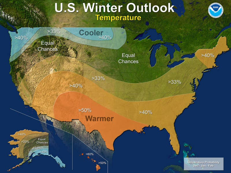Winter 2017: Warmer Along The East Coast, Southern U.S.; Cooler In ...
