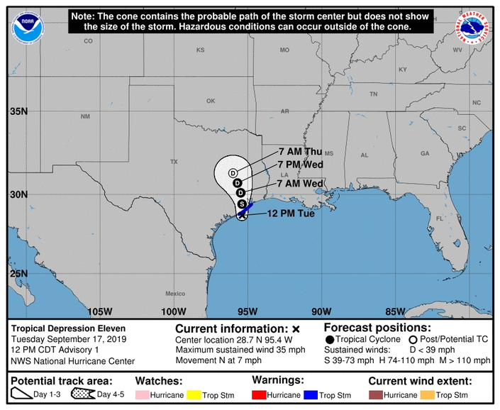 Tropical Depression Forms Off Texas Coast; Flash Floods Possible