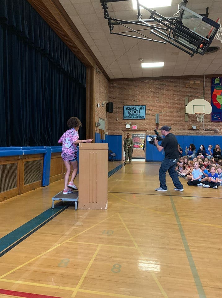 2 LI Students Receive Special Surprise During Assembly | Hauppauge