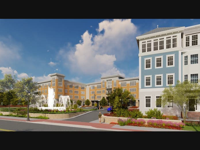 A rendering of the 418-apartment complex which is planned for the former Touro College site at 1700 Union Boulevard.