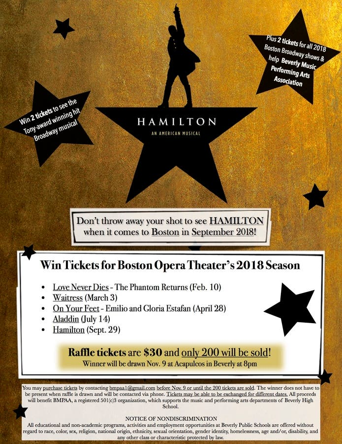 RAFFLE to win tickets to Boston in Broadway's 2018 season including  HAMILTON! | Beverly, MA Patch