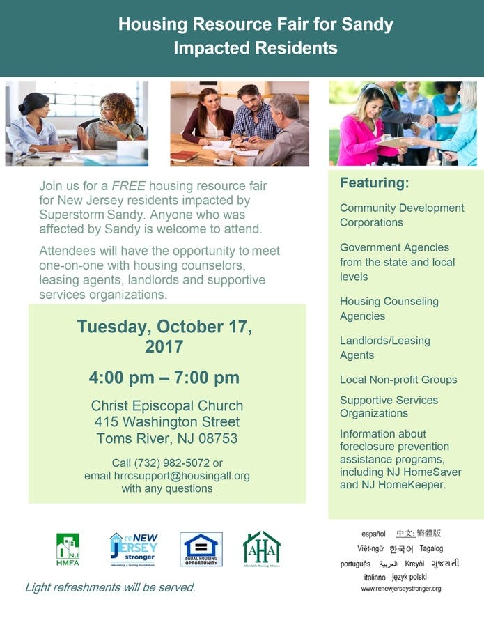 DCA to Host Housing Resource Fair in Ocean County for Sandy